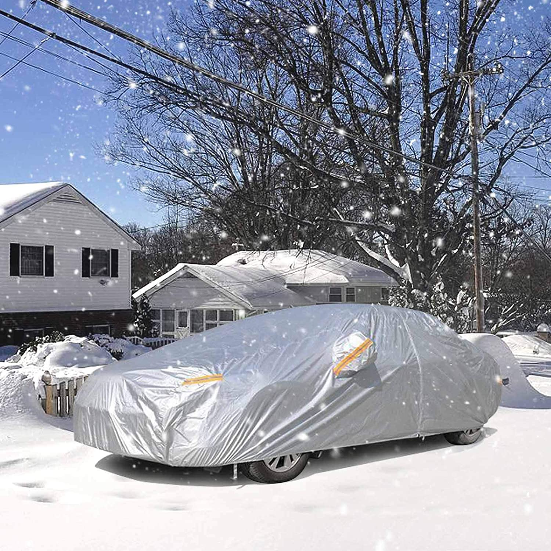 NOVSIGHT Sedan Car Cover Waterproof Breathable Rain UV Sun All Weather Protection with Zipper Mirror Pocket Indoor Outdoor XL 500x185x150CM