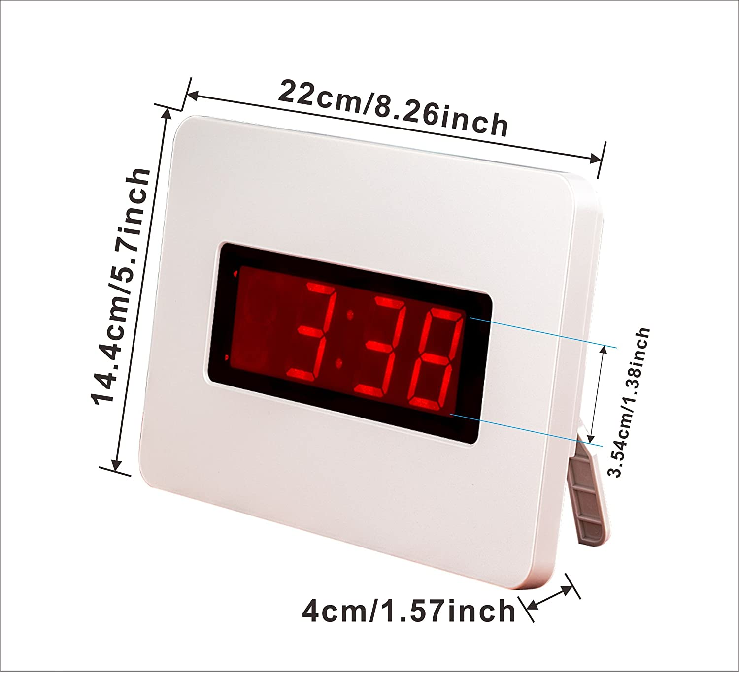 Kwanwa White Wall LED Alarm Clock Battery Powered Only,2 Batteries Keep the 1.4 LED Time Display Up to 1 Year Without Any External Power Supply,Big Red LED Numbers Display,You Don't Have to Find a Outlet For It Guangkehua KW616W
