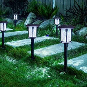 LANSGARINE Solar lights Outdoor Garden Stakes(Glass),Sun Powered LED Yard Lights, Waterproof Decorative Landscape Lighting for Yard Lawn Patio Walkway Spike Pathway Driveway( Cool White,6 Pack)