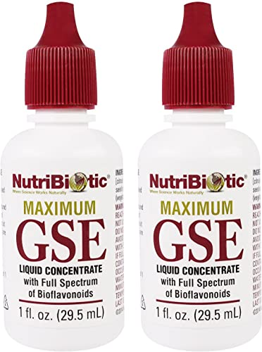 NutriBiotic Maximum GSE Liquid Concentrate Pack of 2 with Grapefruit Seed Extract, 1 oz.