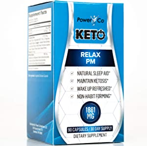 PowerCo Relax PM Deep Sleep Formula - Adult Sleep Aid & Keto Diet Pills in One - Promotes Deep REM Sleeping While Promoting Nighttime Ketosis - 90 Capsules