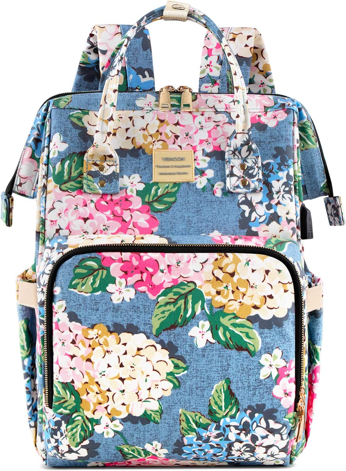 Laptop Backpack,15.6 Inch Stylish College School Backpack with USB Charging Port,Water Resistant Casual Daypack Laptop Backpack for Women/Girls/Business/Travel (Flower2)