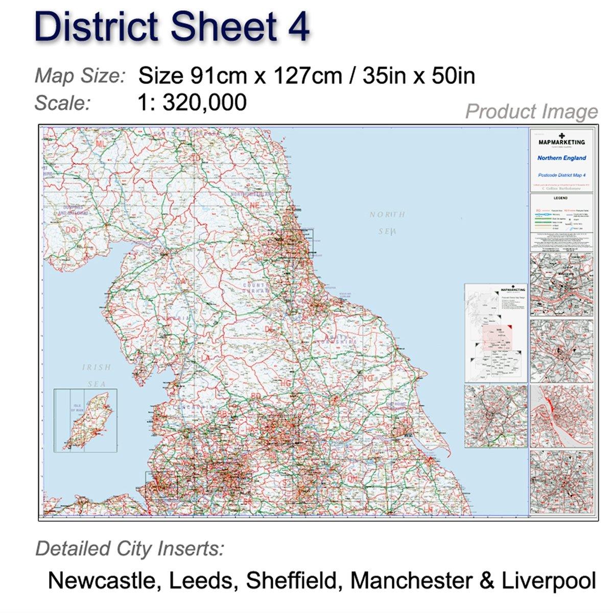 Map Of Northern England.Postcode District Map 4 Northern England Newcastle Upon Tyne Leeds