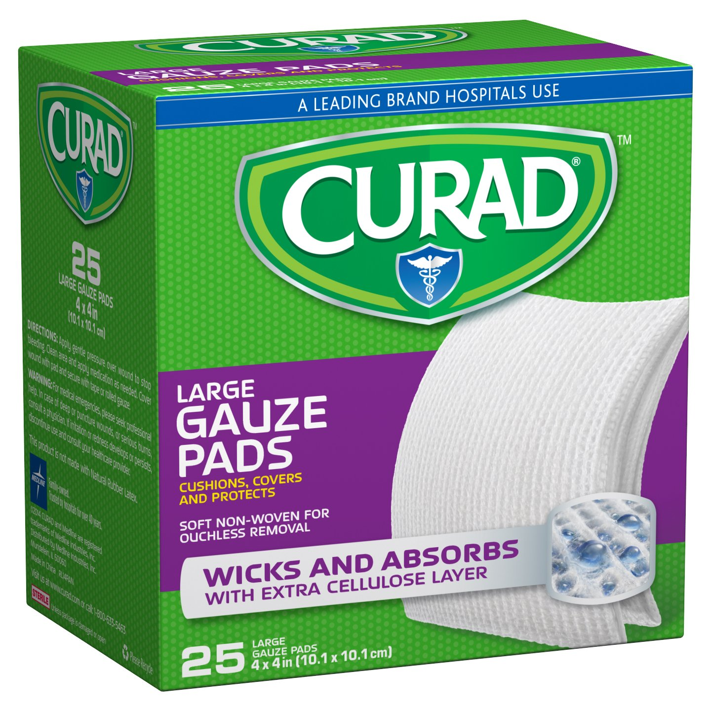 Curad CUR20445RBI Pro-Gauze Pads, 4'' x 4'' (Pack of 24)