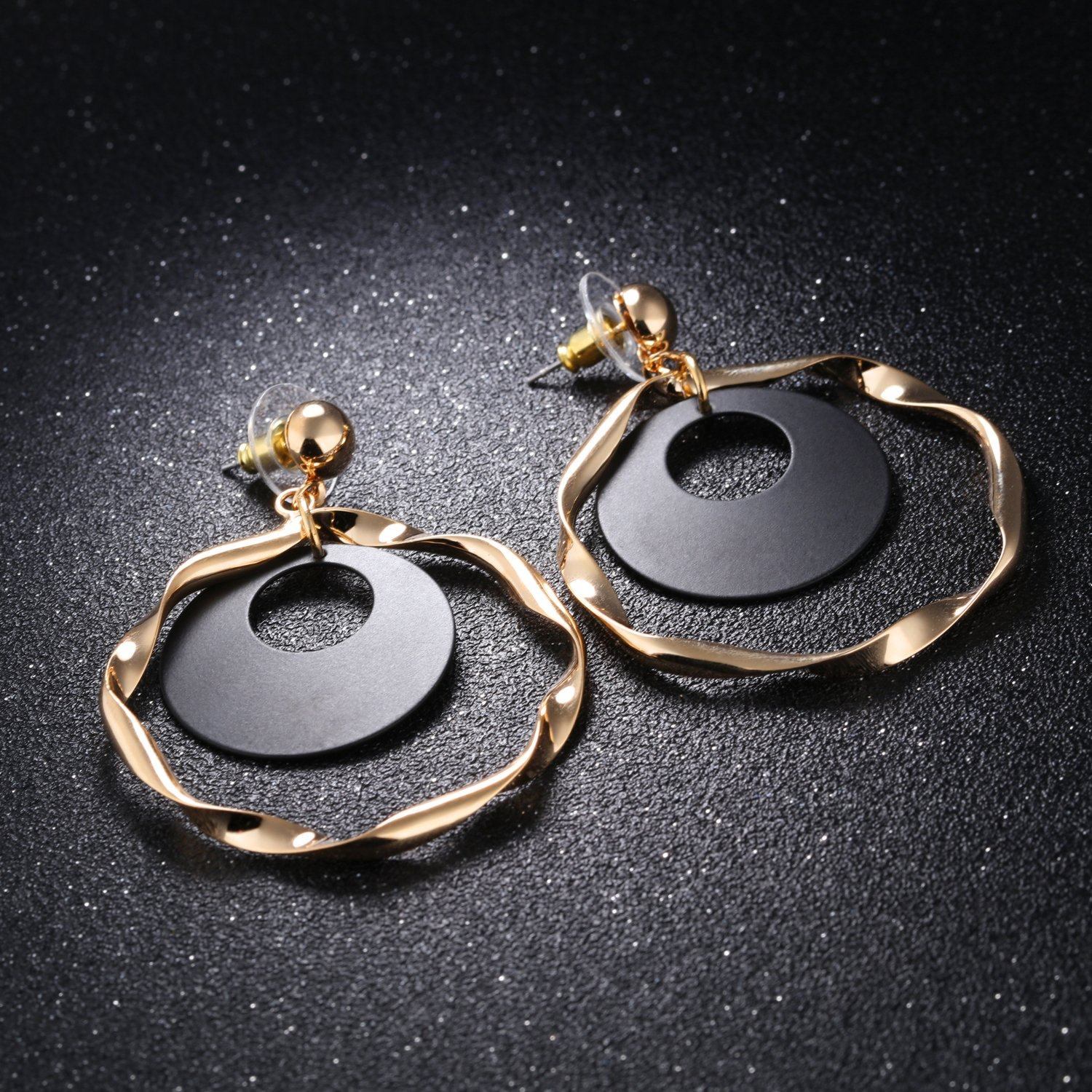 LOHOME Fashion Earrings 18K Gold Tone Swing Twisted Ring Charm Studs Earring for Womens