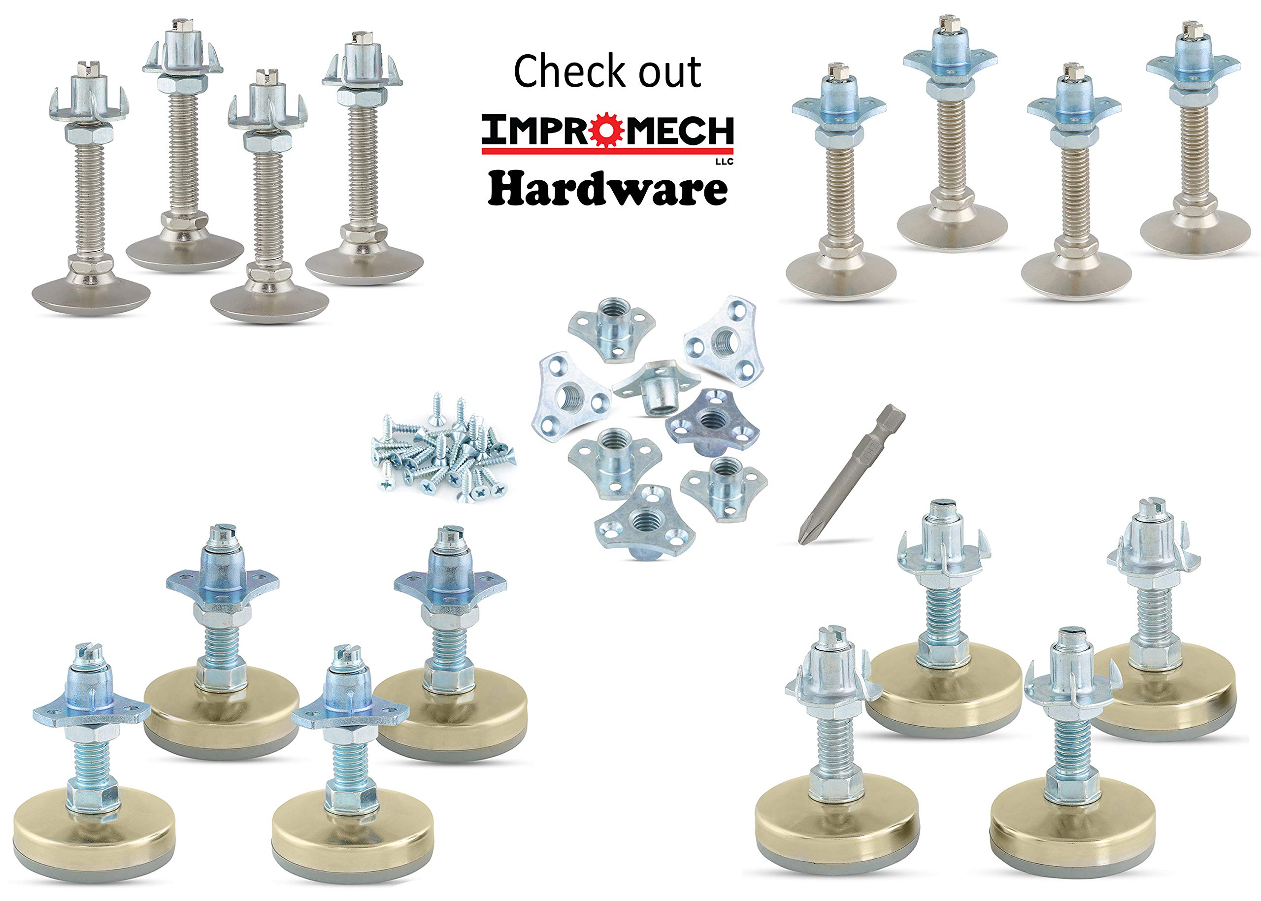 Heavy Duty Furniture Leveler Tee Nut Kit – Set of 4-3/8-16 Non-Skid Leg Levelers for Cabinets or Tables to Adjust Height of The Legs or Feet Jam Nuts to Stabilize Each Foot (Kit with 4 Prong T-Nuts) by Impromech Hardware (Image #6)