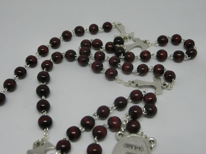 9 grani croce medaglia crocera san fracesco e scritta ruega por nosotros ROS02-6L rosario marrone francescano con tau 70
