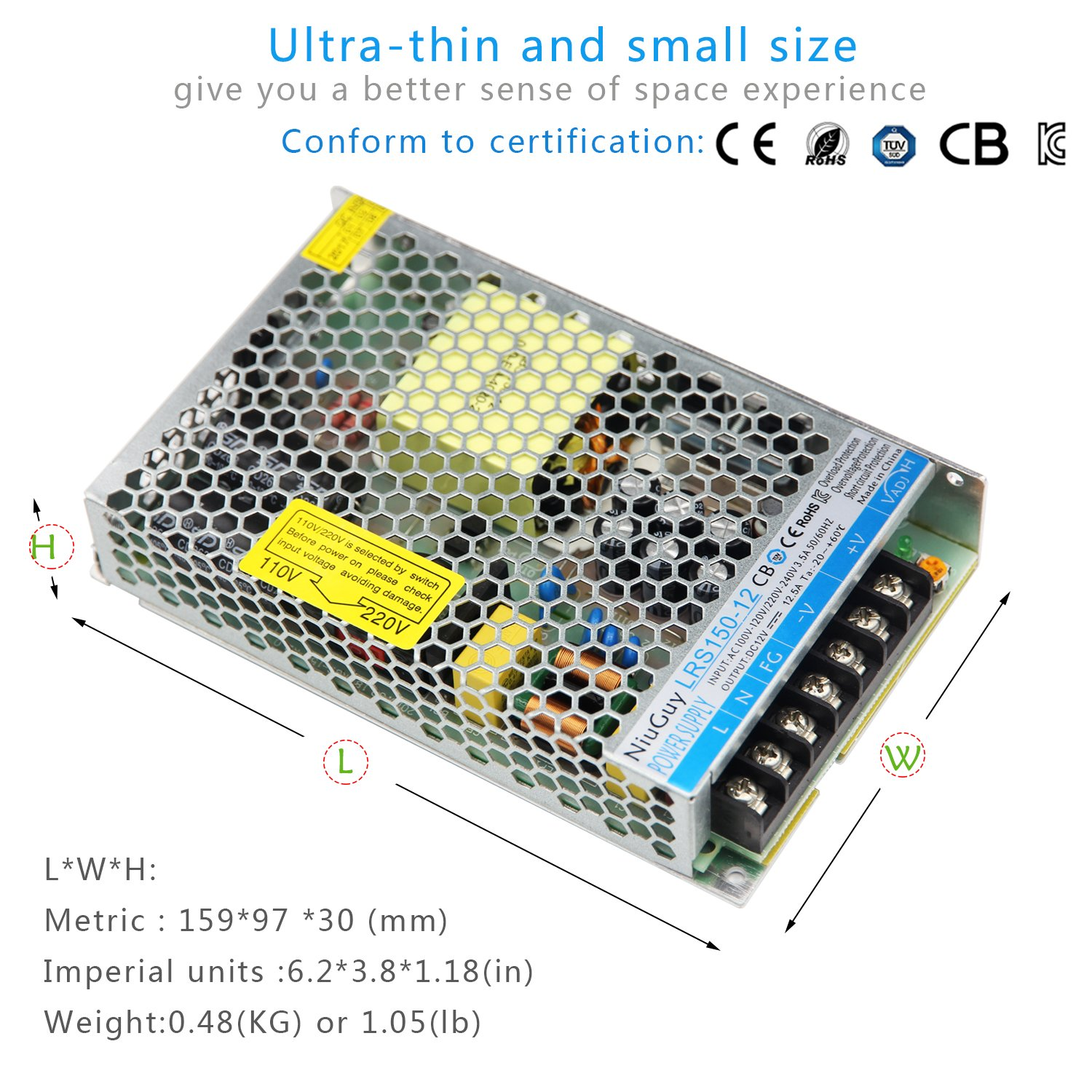 12v 125a Switching Power Supply Driver Wide Voltage Ac Electronics Projects 50w Regulator Circuit Diagram 110v 220v To Dc Universal Regulated 150w Converter For Cctv