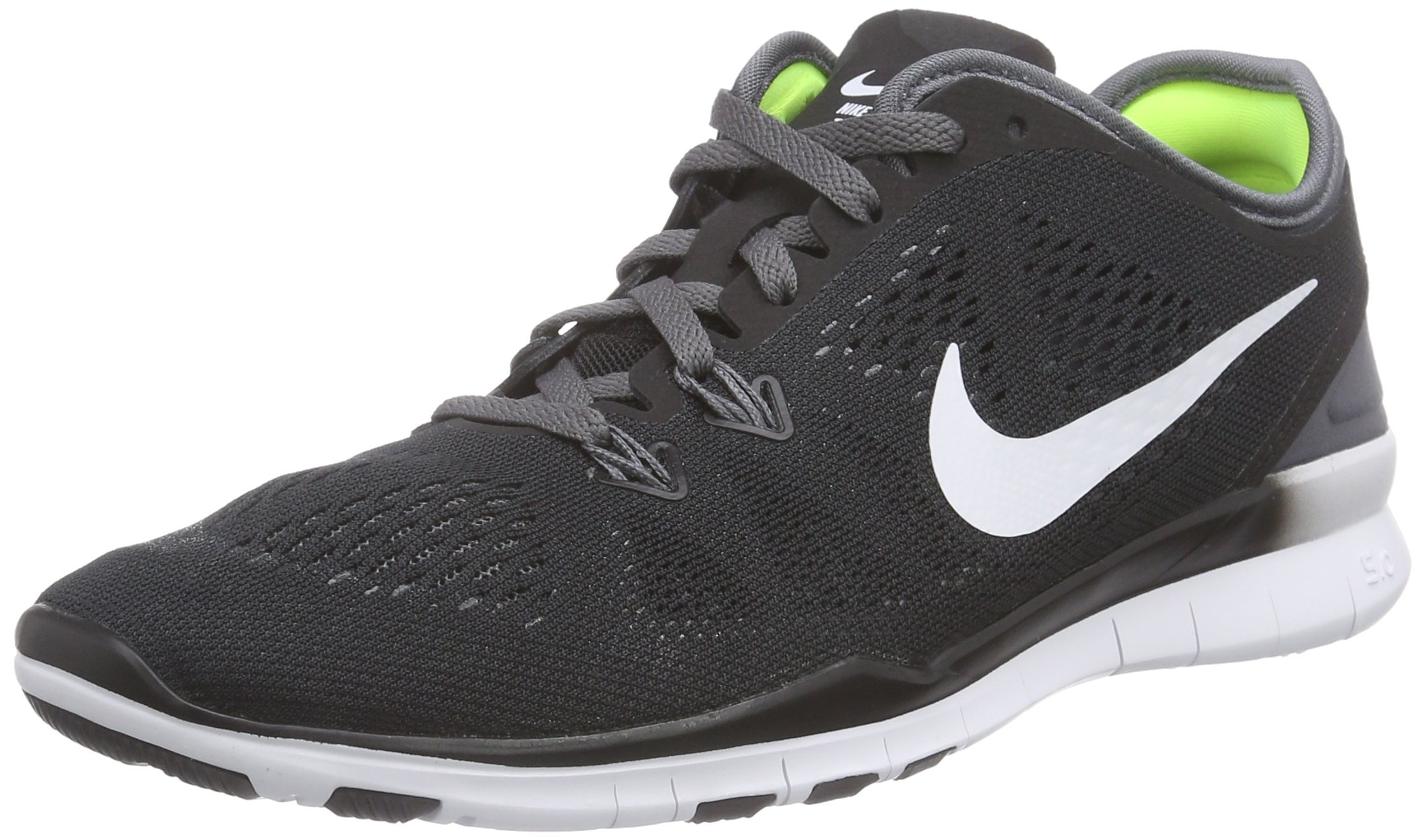 Nike Womens Free 5.0 Tr Fit 5 Black/White/Dark Grey/White Training Shoe 5 Women US