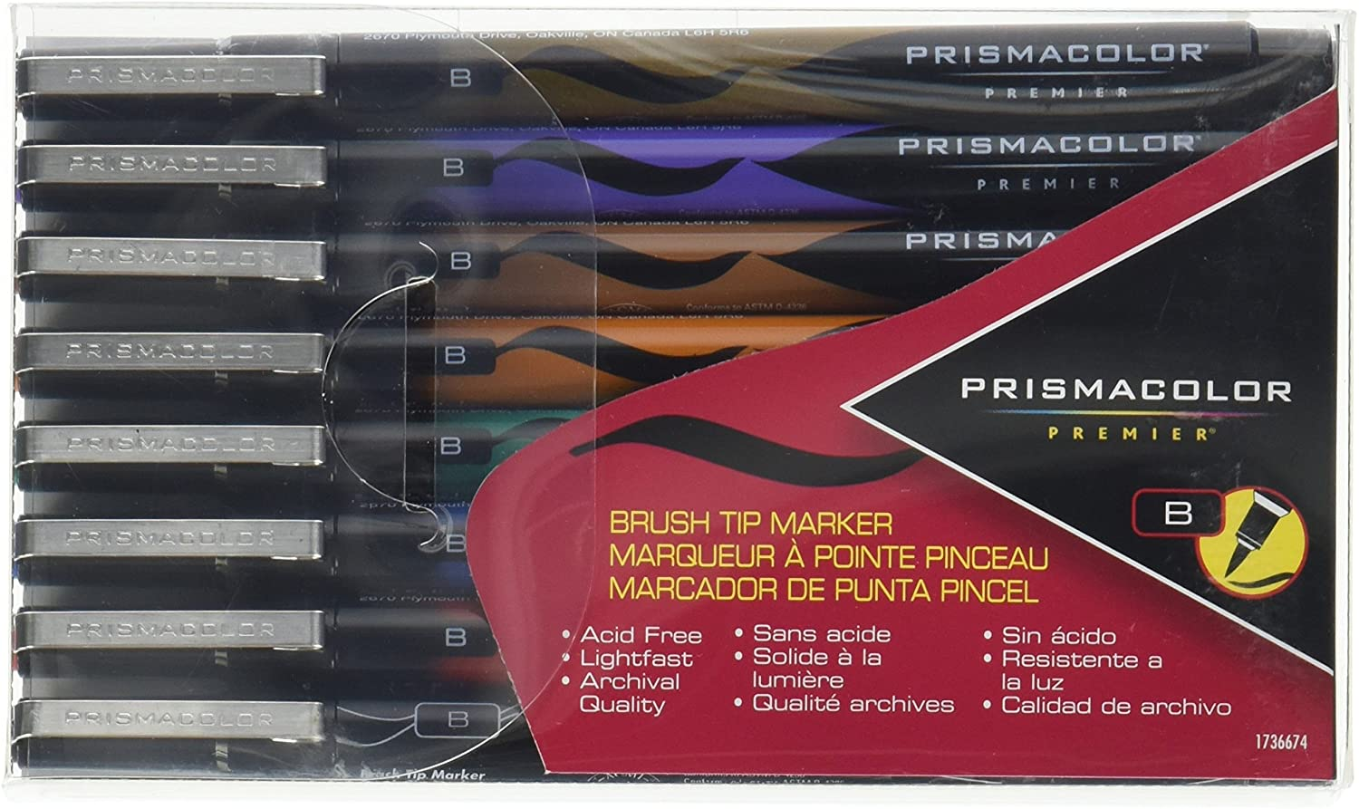Prismacolor 1736674 Premier Illustration Brush Tip Art Markers, Assorted Colors, 8-Count
