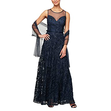 2b9c8c36fddf Alex Evenings Women's Cap Sleeve Embroidered Gown at Amazon Women's  Clothing store: