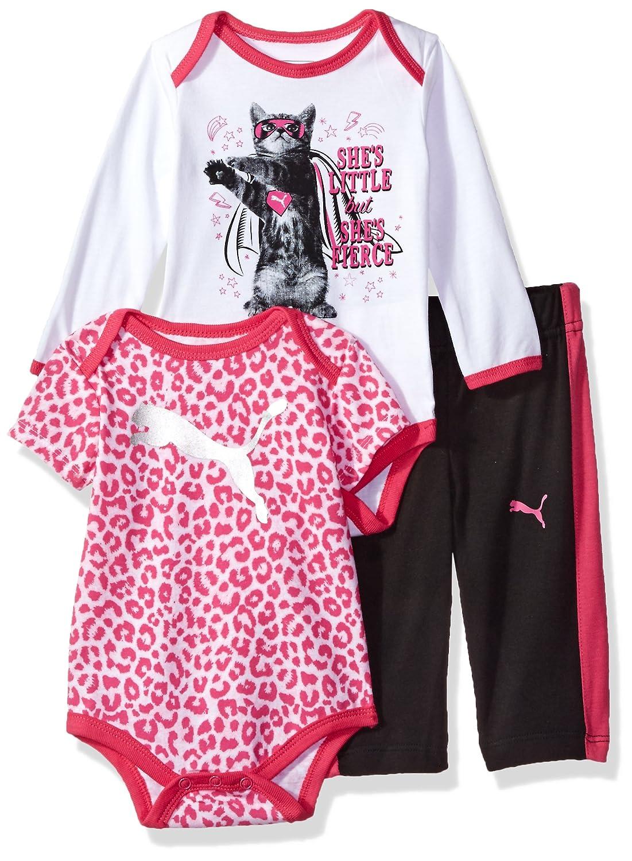 fc5159cc28793 PUMA Baby Girls Three Piece Creeper Bodysuit Set, Black, 12M: Amazon ...