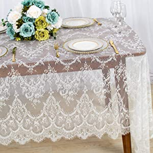 Lace-Tablecloth-Rectangular White 5Pack 60X120 Inches Vintage Eyelash Lace Fabric Tablecloth Shabby Chic Linen Table Cover Overlay Used for Wedding Holiday Party Baby Shower Decor