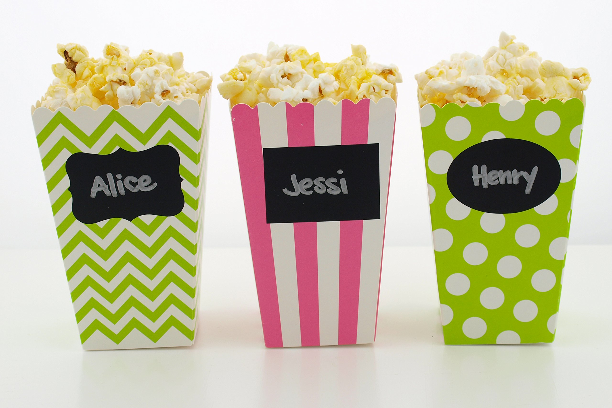 Watermelon Party Popcorn Boxes & Black Label Chalkboard Vinyl Stickers (36 Pack) - Watermelon Party Favors, Miniature Movie Theatre Popcorn Tubs for Summer Watermelon Birthday Party Supplies