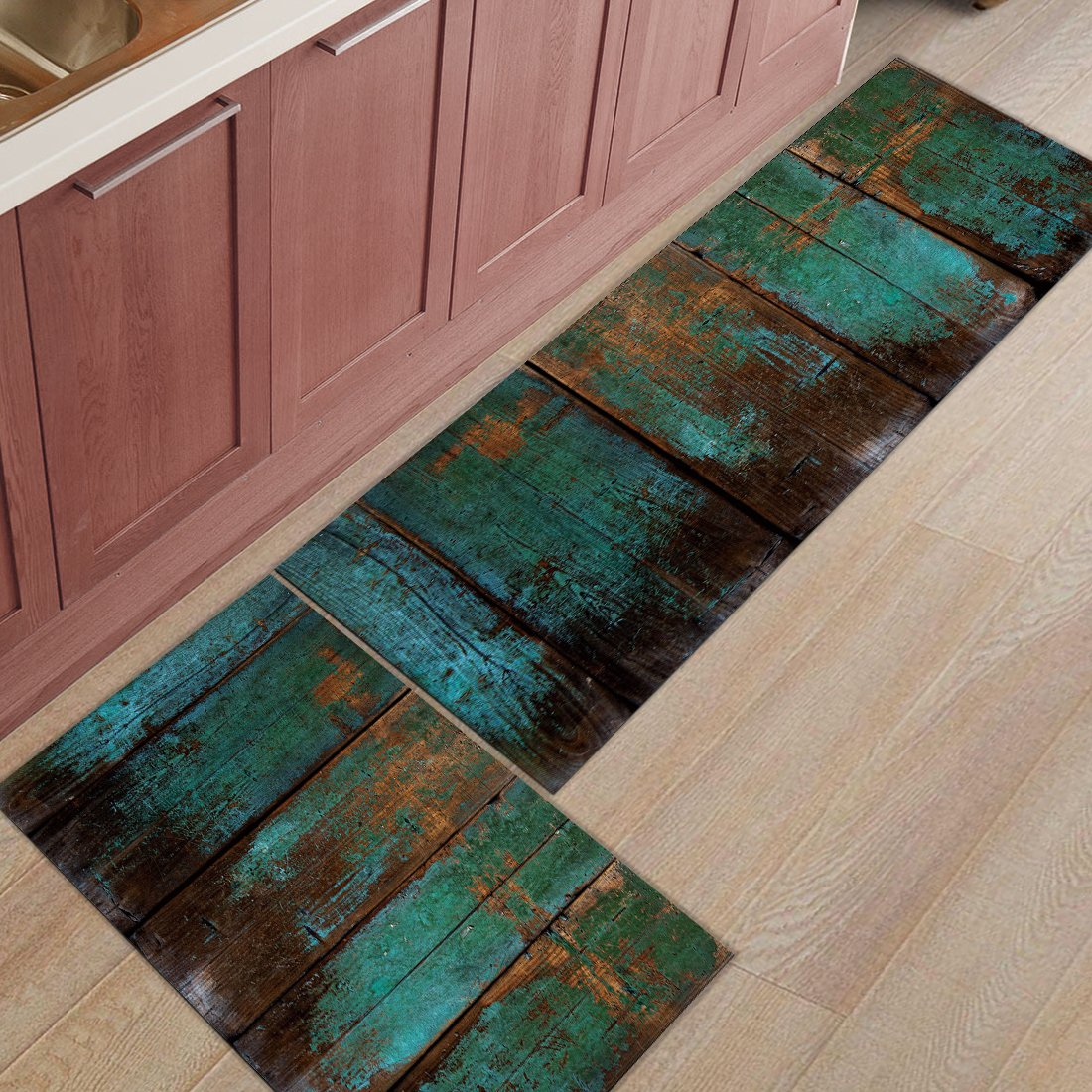 HomeCreator Non Slip 2pc Kitchen Area Rugs Wood Grain Absorbent Antibacterial Indoor Door Mats Set Machine Washable Rug Runner 15.7''x23.6''/15.7''x47.2''