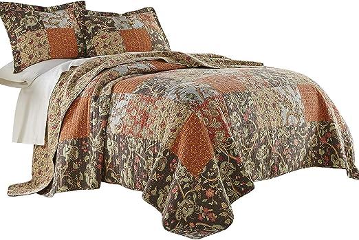 Leslie 3-piece Floral Patchwork Reversible Vintage Washed 100/% Cotton Quilt Set