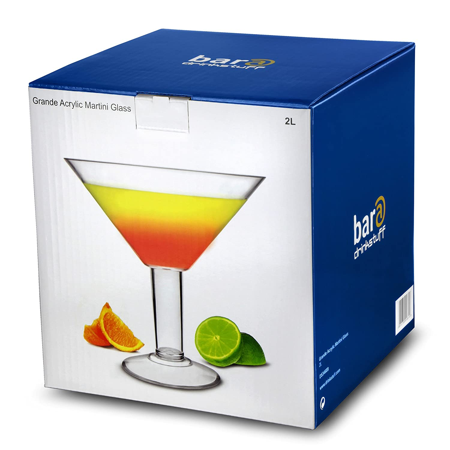 bar@drinkstuff Grande Acrylic Martini Glass 73oz/2ltr - 25cm Oversized Plastic Cocktail Glass Ideal for Centrepieces