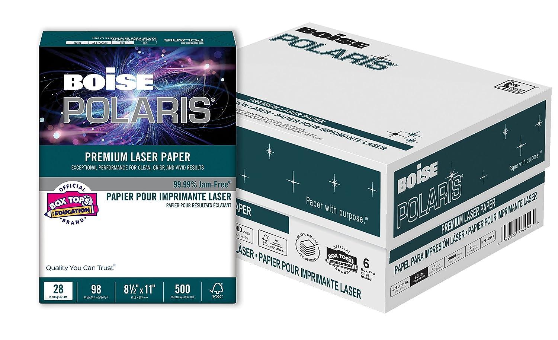 98 Bright White 8 ream carton BOISE POLARIS Premium Laser Paper 24 lb 8.5 x 11 4,000 Sheets 3 Hole Punch