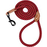 Mile High Life Leather Tailor Reinforce Handle Mountain Climbing Dog Rope Leash with Heavy Duty Metal Sturdy Clasp (Red…