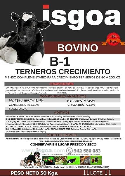 Pienso Crecimiento TERNEROS B-1 Granulado. Isgoa: Amazon.es ...