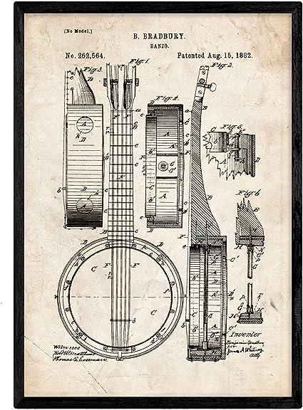 Nacnic Poster con Patente de Banjo. Lámina con diseño de Patente Antigua en tamaño A3 y con Fondo Vintage