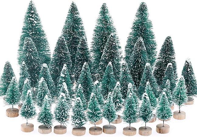 MELLIEX 40 pcs Árbol de Navidad en Miniatura Pequeño árbol de Navidad Artificial Mesa de Nieve Árboles Esmerilados para la Decoración del Hogar, Bricolaje: Amazon.es: Hogar
