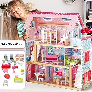 Infantastic Casa delle Bambole in Legno - 76x30x82cm, 3 Livelli di