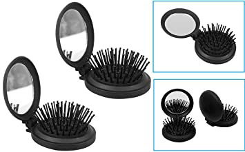 f88280688a1e Image Unavailable. Image not available for. Color  2 Pop Up Travel Folding  Hair Brush Mirror Pocket Purse Car Camping Compact ...