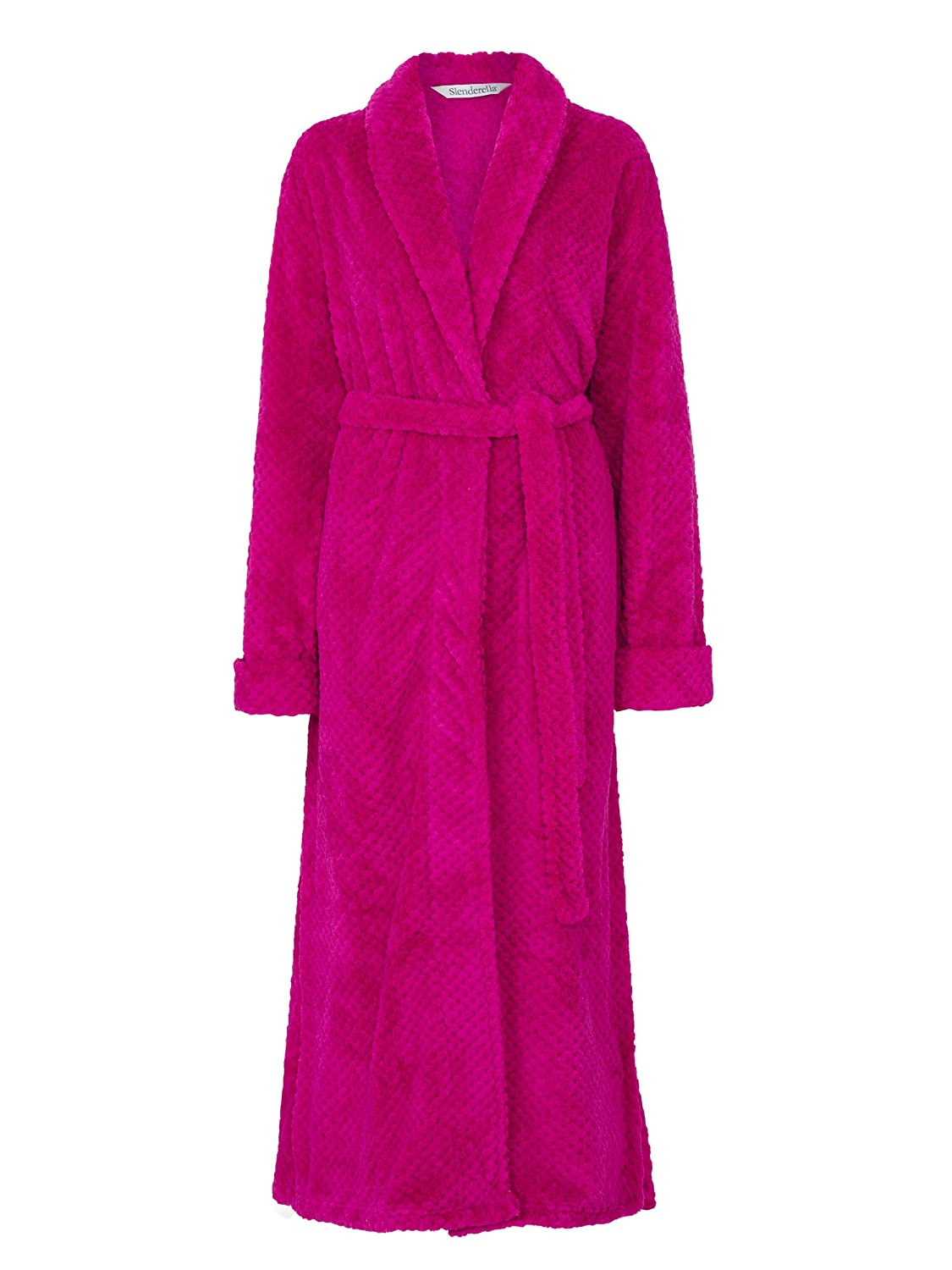 Ladies 52 Long Luxury 300GSM Thick Soft Fleece Collared Bath Robe Dressing Gown Slenderella