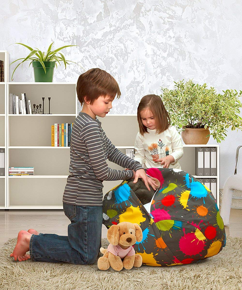 Premium Cotton Canvas Blots Available in a Variety of Sizes and Colors Large Size 36 AMAZEYOU Stuffed Animal Storage Bean Bag Chair Comfy Pouf Organizer for Children and Kids