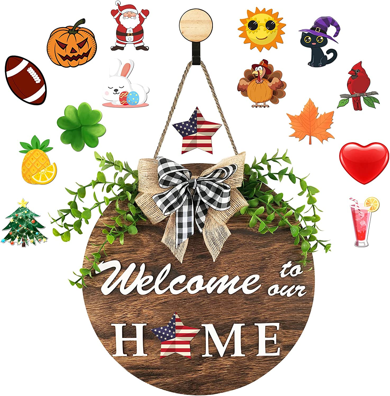 Coskaka Welcome Door Sign Interchangeable for Welcome to Our Home Round Wood with Burlap Bow and 16 Seasonal Ornament for Housewarming Gifts, Christmas, Farmhouse Outdoor Home Decor,Diameter 11.8
