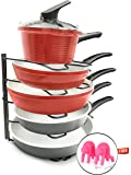 Pots and Pans Shelf Organizer | Kitchen Shelves Holder and Pantry Rack for Frying Pan, Pot Lid, Cookware in Cupboard and Cabinets with Anti-Overflowing Cookware | Heavy Duty and Bronze