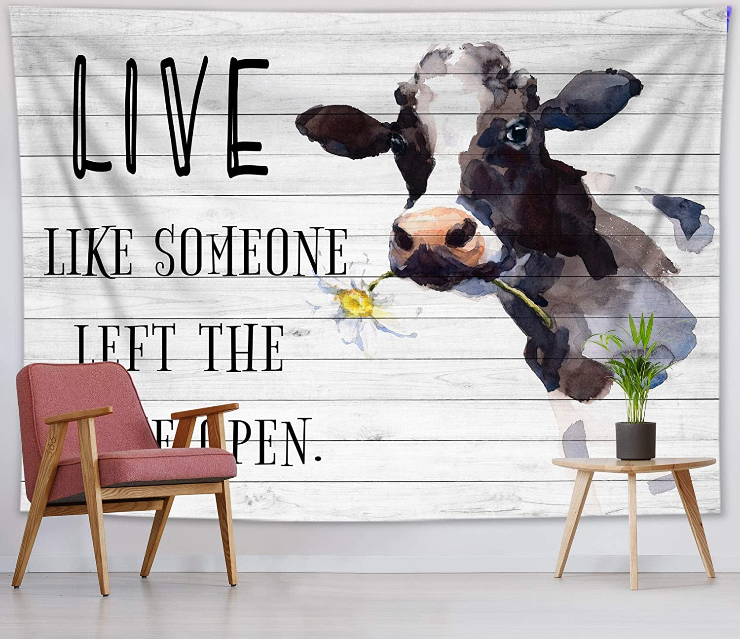 HVEST Farm Animal Tapestry Inspirational Quotes Tapestry Watercolor Cow with Daisy Flower Tapestries Funny Words Tapestry for Living Room Bedroom Dorm Teen Indie Room Decor, 60x40 Inches