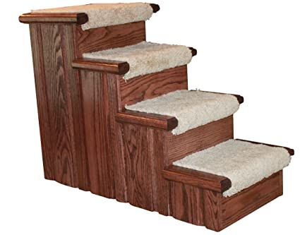 Beau Premier Pet Steps Tall Raised Panel Dog Steps, Carpeted Tread With A Rich  Cherry Stain