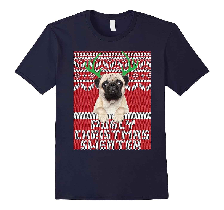 Ugly Christmas Sweater Cute Pug T Shirt-FL