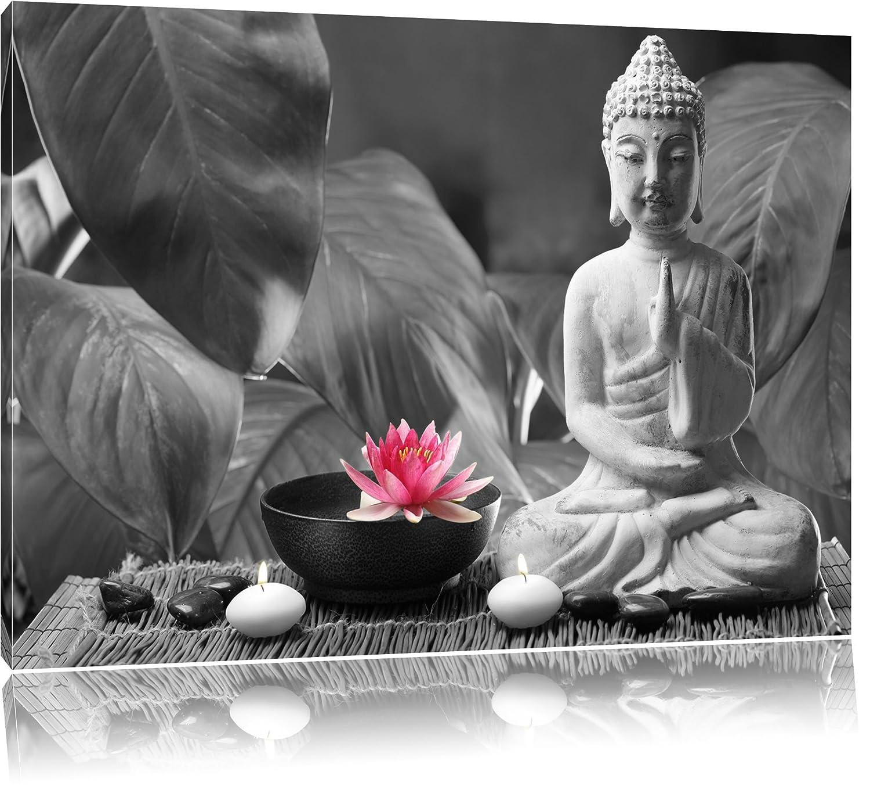 Buddha mit Seerose schwarz/weiß Format: 120x80 auf Leinwand, XXL ...