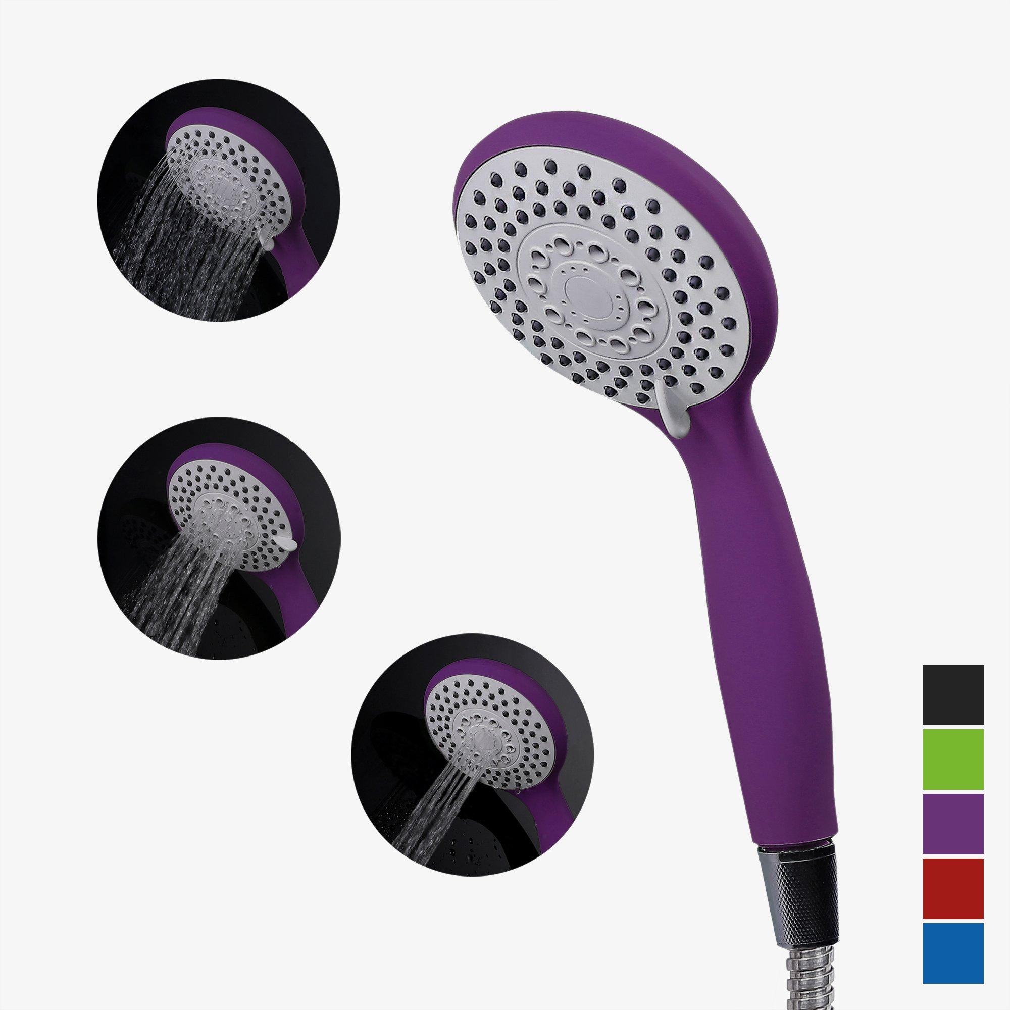 Handheld Shower Head,Hand shower head Matte Purple Sprayer bath SPA Massagehead Silicone Nozzles 4 Spray Setting Water Saving Rating 2.0GPM -Elegantly Designed Color Purple