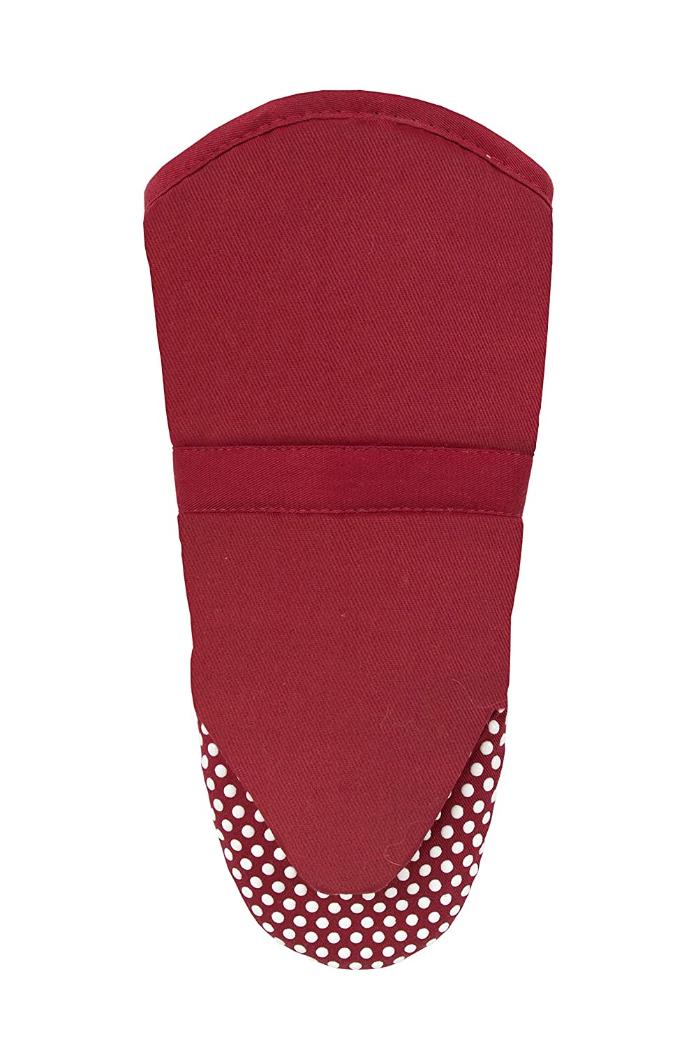 RITZ Royale Cotton Twill Puppet Oven Mitt with Silicone Dot Non-Slip Grip, 13-inch, Paprika Red