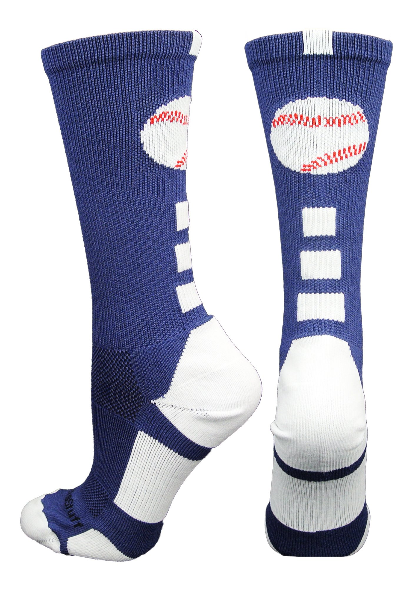 MadSportsStuff Baseball Logo Crew Socks (Navy/White, Small) by MadSportsStuff