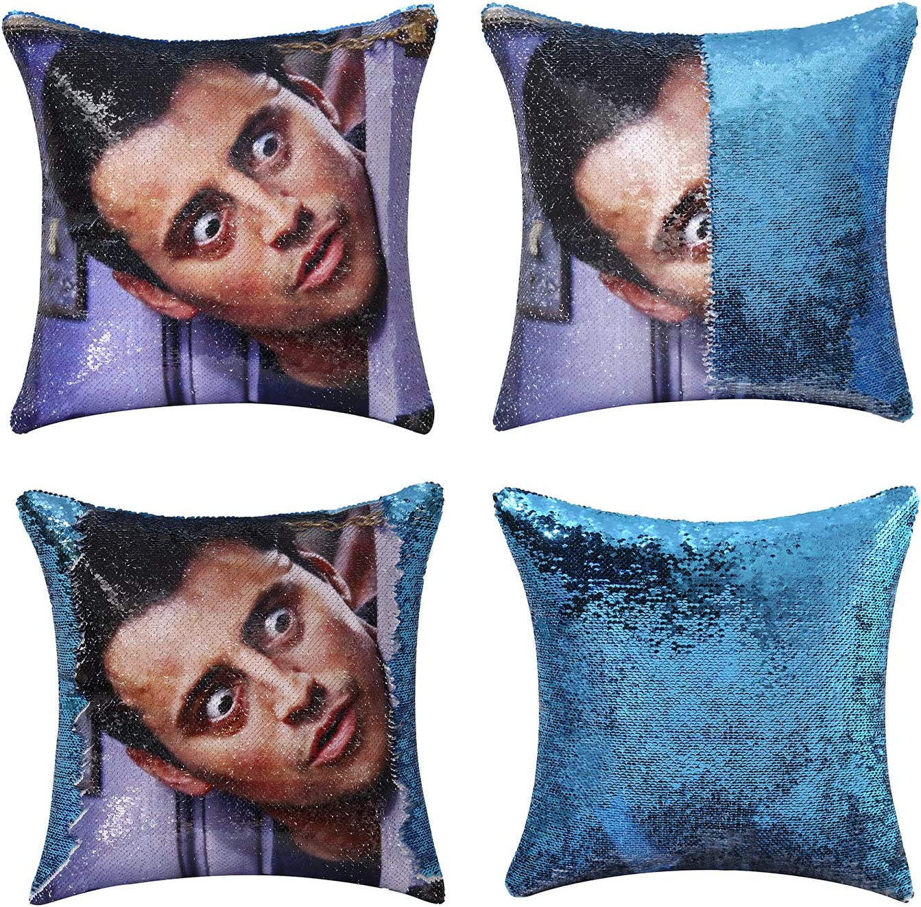 Jasen Friends Joey Tribbiani Sequin Pillow Cover Magic Two Color Changing Pillowcase Mermaid Pillow Custom Pillow Cover Gift for Her Him(Blue)