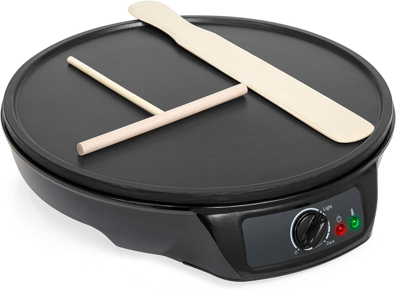 Best Choice Products Portable Non-Stick Electric Griddle Pancake Crepe Maker Pan w Wooden Spatula, Batter Spreader, Indicator Light, 12in, Black