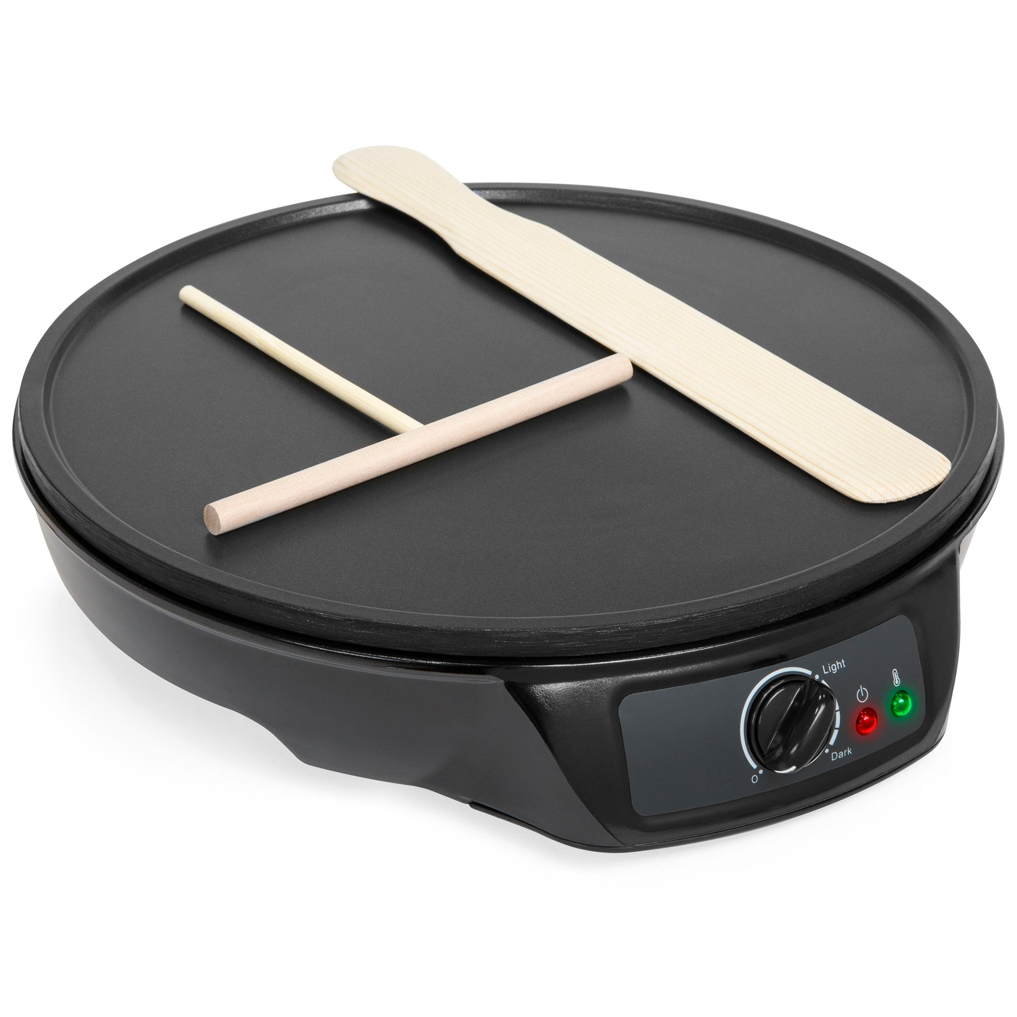 Best Choice Products Portable Non-Stick Electric Griddle Pancake Crepe Maker Pan w/Wooden Spatula, Batter Spreader, Indicator Light, 12in, Black by Best Choice Products