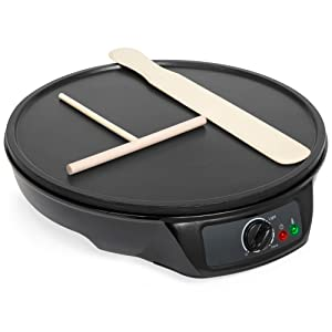 Best Choice Products 12in Lightweight Portable Non-Stick Electric Griddle Pancake Crepe Maker Pan w/Wooden Spatula, Batter Spreader, Indicator Light - Black