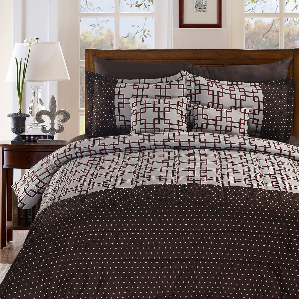 MasterPanel - King Size 8+2 Piece Luxury Plaid Bedding Comforter Set Plaid Prints by MasterPanel