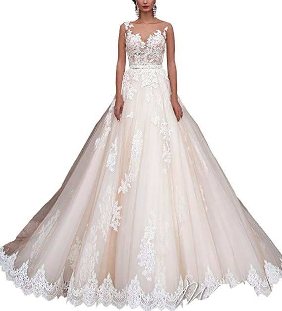 KISSBRIDAL Womens Floral A-line Prom Dresses Lace Applique Bridal Wedding Gown at Amazon Womens Clothing store: