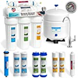 Express Water 5 Stage Under Sink Reverse Osmosis Filtration System 50 GPD RO Membrane Deluxe Faucet Pressure Gauge Ultra Safe Residential Water Purification One Year Warranty + Extra Set of 4 Filters