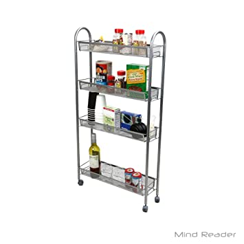 Superbe Mind Reader 4 Tier Slim And Tall Kitchen Trolley Utility All Purpose Cart,  Silver