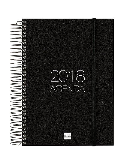 Finocam Espiral Opaque - Agenda 2018 día página, euskera, 155 x 215 mm, 70 g/m², color negro