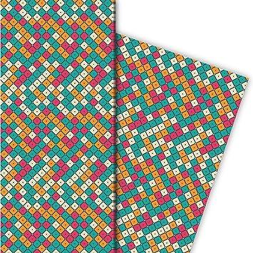 Modernes Mosaik Geschenkpapier Set 4 Bogendekorpapier Mit Kacheln