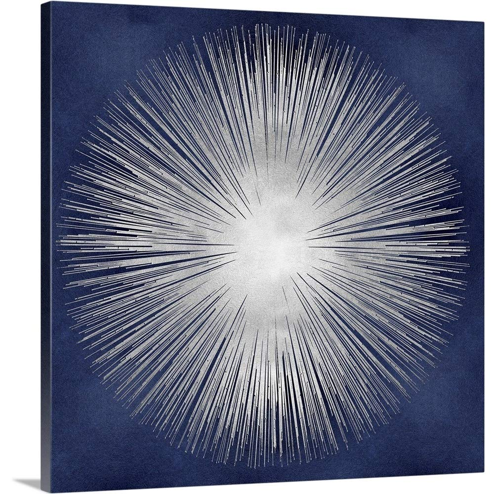 Gallery-Wrapped Canvas Entitled Silver Sunburst on Blue I by Abby Young 24''x24''